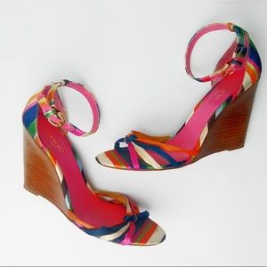 Coach Tabatha Striped Wedge Sandals Ankle Strap 6